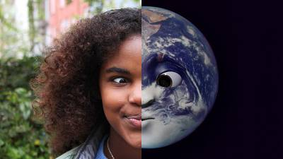 A kid interacting with the Earth Speakr app