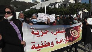 جانب من مظاهرة للمطالبة بتحسين ظروف المعيشة في تونس ما بعد الثورة