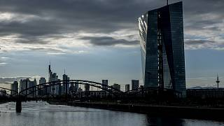 The European Central Bank, right, is seen in Frankfurt, Germany, Wednesday, Sept. 9, 2020.