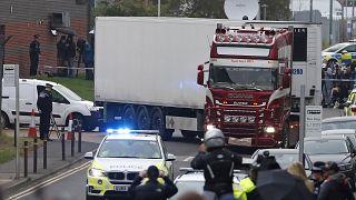 Le camion qui contenait les migrants vietnamiens retrouvés morts, à Thurrock, Royaume-Uni, le 23 octobre 2019