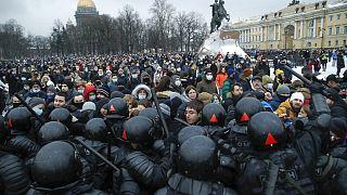 a szentpétervári tüntetés Navalnijért 2021. január 23-án