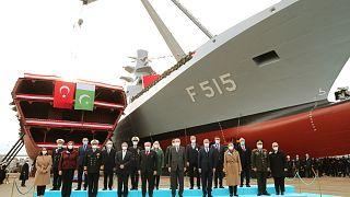 Cumhurbaşkanı Erdoğan, İstanbul Tersane Komutanlığında, MİLGEM Projesi'nin 5'inci gemisi İstanbul (F-515) Fırkateyni'nin Denize İniş törenine katıldı.