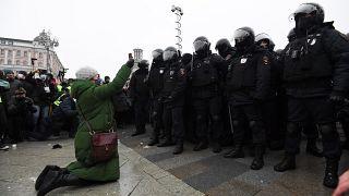 Demonstrantin in Moskau