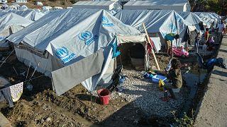 Yunanistan'da bir mülteci kampı