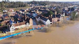 Aerials of flooding after heavy rainfall brought on by Storm Christoph in the town of Bewdley.