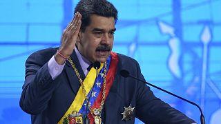 الرئيس الفنزويلي نيكولاس مادورو يخطب داخل المحكمة الدستورية في كاراكاس. 2021/01/22