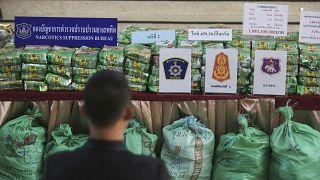 Packages of methamphetamines on a table at Narcotics Suppression Bureau Bangkok, Thailand, Monday, July 15, 2019.