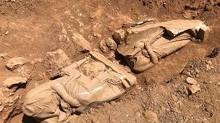Τμήμα από το ναόσχημο μνημείο που εντοπίστηκε στην Παιανία