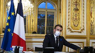 الرئيس الفرنسي إيمانويل ماكرون في قصر الإليزيه في باريس