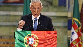 El presidente de Portugal, Marcelo Rebelo de Sousa, pronuncia un discurso tras su reelección