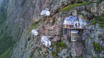The Natura Vive Skylodge capsule suites looks out over the majestic Sacred Valley