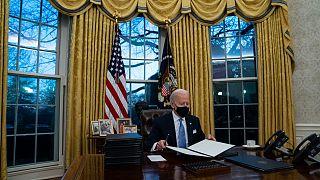 الرئيس الأمريكي جو بادين في البيت الأبيض واشنطن