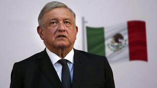 الرئيس المكسيكي، أندريس مانويل لوبيز أوبرادور  في القصر الوطني في مكسيكو سيتي