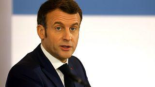 French President Emmanuel Macron at The Elysee Palace, in Paris, Monday Jan. 11, 2021.