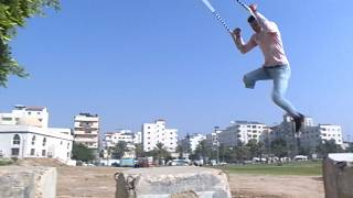 Handicapped youths in Palestine practice parkour