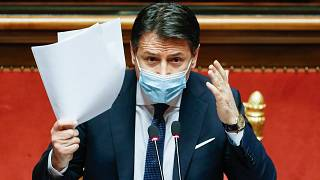 Italian Prime Minister Giuseppe Conte speaks at the Senate