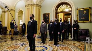 المدّعين العامّين في مجلس النواب بعد تسليم القرار الاتهامي إلى مجلس الشيوخ ضد الرئيس السابق دونالد ترامب، في واشنطن.