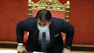 Ο πρωθυπουργός της Ιταλίας Τζουζέπε Κόντε στις 21/01/2021 μετά την ομιλία του στην Γερουσία ενόψει της ψήφου εμπιστοσύνης