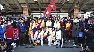 A l'aéroport de Katmandou ce mardi