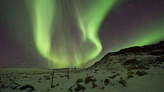 Aurora Borealis am Himmel über Bifrost, im Westen Islands, 01.03.2017