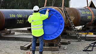 A man works at the construction site of the Nord Stream 2 gas pipeline in Lubmin, northeastern Germany
