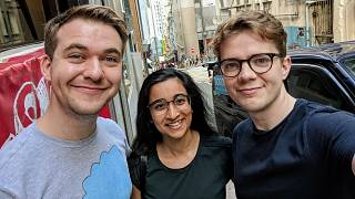 Three Anti-Virus's founders: Economist Sam Bowman (L), PhD student in psychiatric genetics at Hong Kong University Saloni Dattani (M), and journalist at WSJ Mike Bird (R)