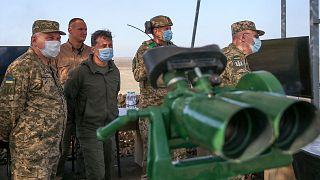 ولودیمیر زلنسکی، رئیس جمهوری اوکراین در رزمایش «تلاش مشترک ۲۰۲۰»