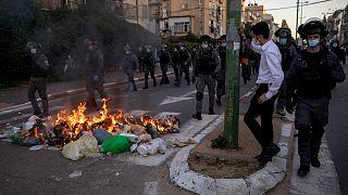 مواجهات بين الشرطة واليهود الأرثوذكس المتشددين في بني براك، إسرائيل