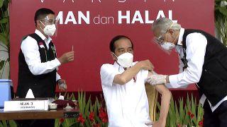 الرئيس الإندونيسي جوكو ويدودو يتلقّى جرعته الثانية من لقاح فيروس كورونا الصيني