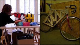 تحويل أغطية العبوات البلاستيكية إلى حقائب ودراجات