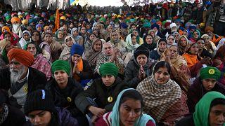 فعالية احتجاجية للمزارعين الهنود ضد إصلاحات تتعلق بالقطاع الزراعي