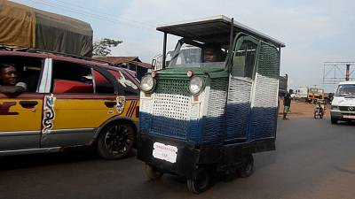 The first solar-powered car made from trash in Sierra Leone