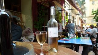 This photo taken in May 2011 at another restaurant in Old Nice shows a street scene at lunch time in France.