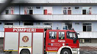 A fire engine is parked a hospital after a fire broke out on the ground floor Friday Jan. 29, 2021.