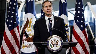 Ο νέος υπουργός Εξωτεριικών των ΗΠΑ Άντονι Μπλίνκεν κατά την ανάληψη των καθηκόντων του (21/01/21)