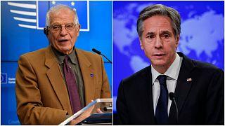 وزيرا خارجية الاتحاد الاوروبي والولايات المتحدة جوزيب بوريل وأنتوني بلينكن