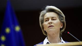 European Commission President Ursula Von Der Leyen at the European Parliament in Brussels, Wednesday, Jan. 20, 2021.
