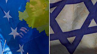Kosova ve İsrail bayrakları