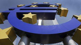 e facade of the European Central Bank ECB Tower,