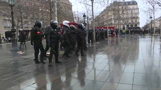 Police officers seen in Paris as demonstrators gathered to protest the global security law.
