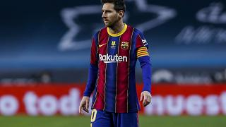 Barcelona's Lionel Messi during the Spanish Supercopa final soccer match between FC Barcelona and Athletic Bilbao at La Cartuja stadium in Seville, Spain. Jan. 17, 2021