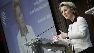 European Commission President Ursula von der Leyen speaks during a news conference at the European Council headquarters in Brussels, Thursday, Jan. 21, 2021.
