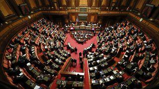 رئيس الوزراء الإيطالي دوزيبي كونتي يتحدث في مجلس الشيوخ. 2021/01/19