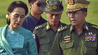 Gözaltına alınan Aung San Suu Çii ve Myanmar Genelkurmay Başkanı Min Aung Hlaing, 6 Mayıs 2016