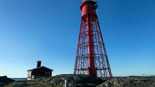 The lighthouse and cabin, which will act as a screening rooms, on the island of Hamneskar, western Sweden on Saturday, Jan. 30, 2021.