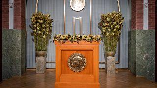 A Nobel Intézet előadói pulpitusa 2020. december 10-én