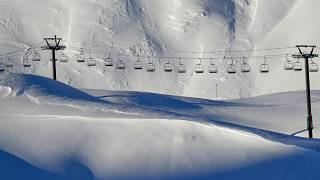 Chairlifts are stopped in Val d'Isere, in the French Alps