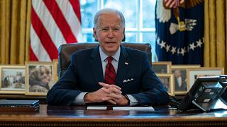 President Joe Biden delivers remarks on health care, in the Oval Office of the White House, Thursday, Jan. 28, 2021, in Washington.