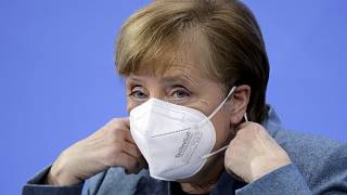 German Chancellor Angela Merkel at the start of a news conference after meeting with vaccine producers and Germany's state prime ministers. Berlin, Germany. Feb. 1, 2020.