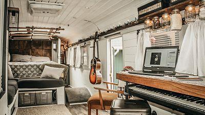 Inside Caleb Brackney's school bus converted into a tiny house